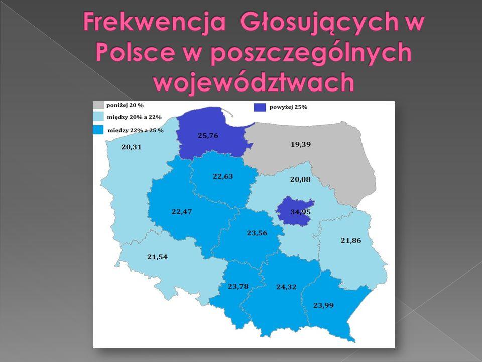 Frekwencja Głosujących w Polsce w poszczególnych województwach