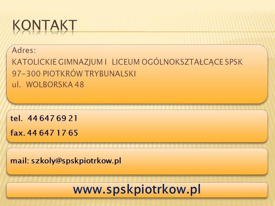 KONTAKT www.spskpiotrkow.pl Adres: