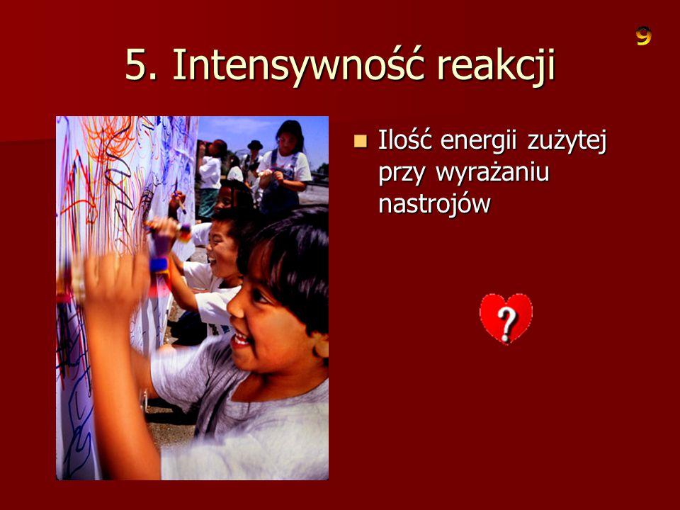 5. Intensywność reakcji Ilość energii zużytej przy wyrażaniu nastrojów