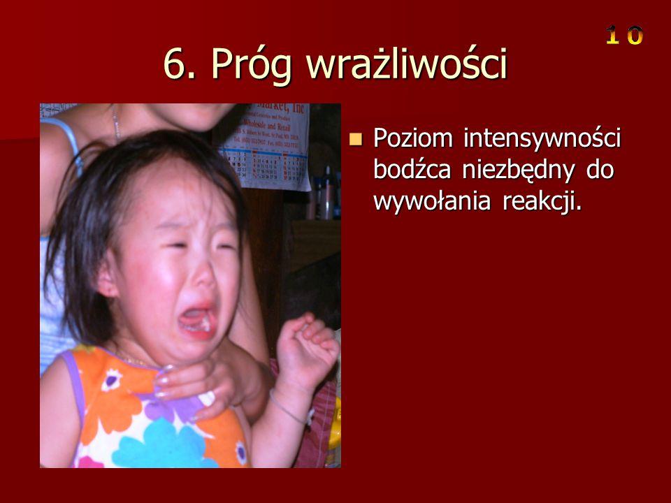 6. Próg wrażliwości Poziom intensywności bodźca niezbędny do wywołania reakcji.