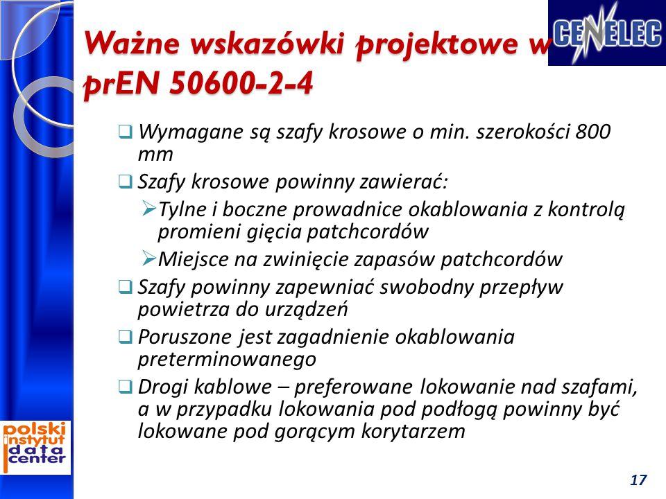 Ważne wskazówki projektowe w prEN 50600-2-4