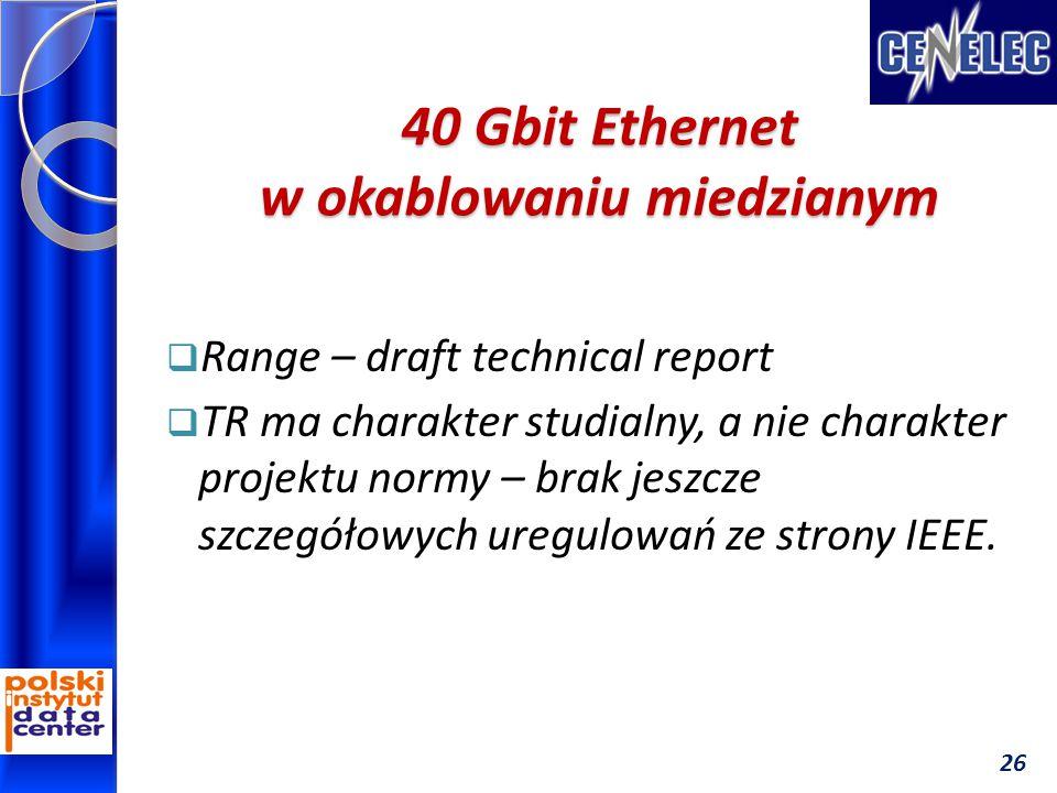 40 Gbit Ethernet w okablowaniu miedzianym