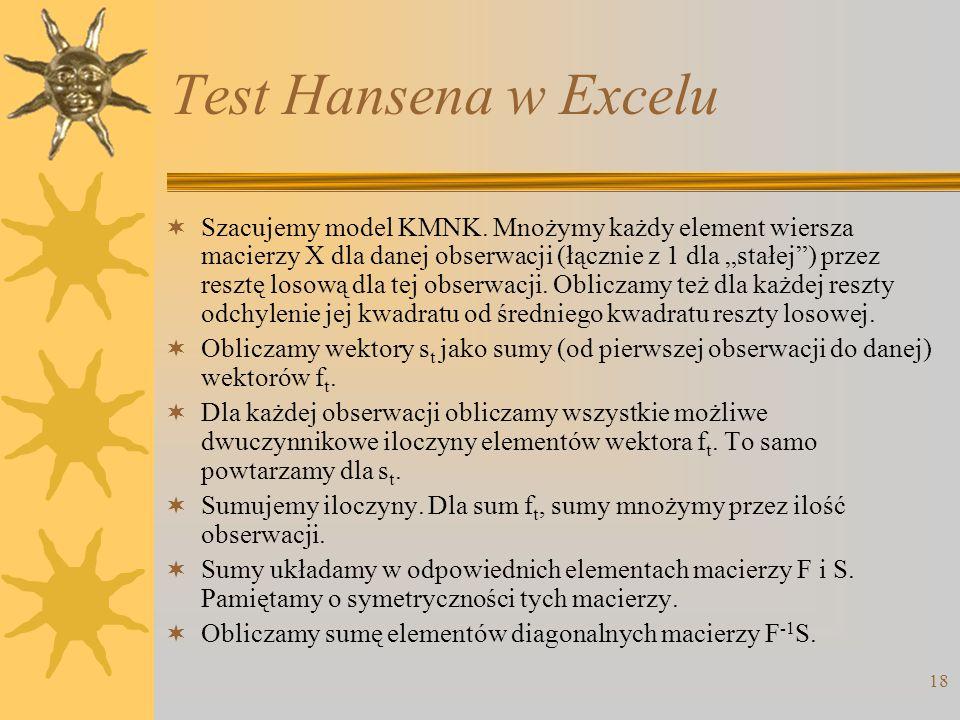 Test Hansena w Excelu