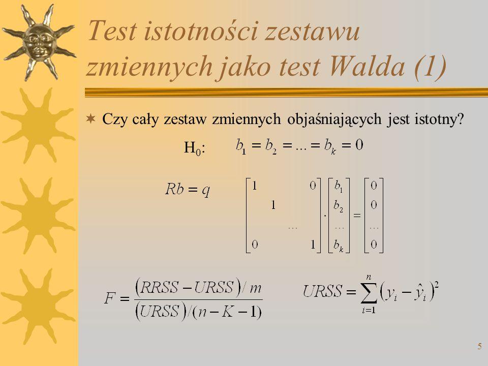 Test istotności zestawu zmiennych jako test Walda (1)