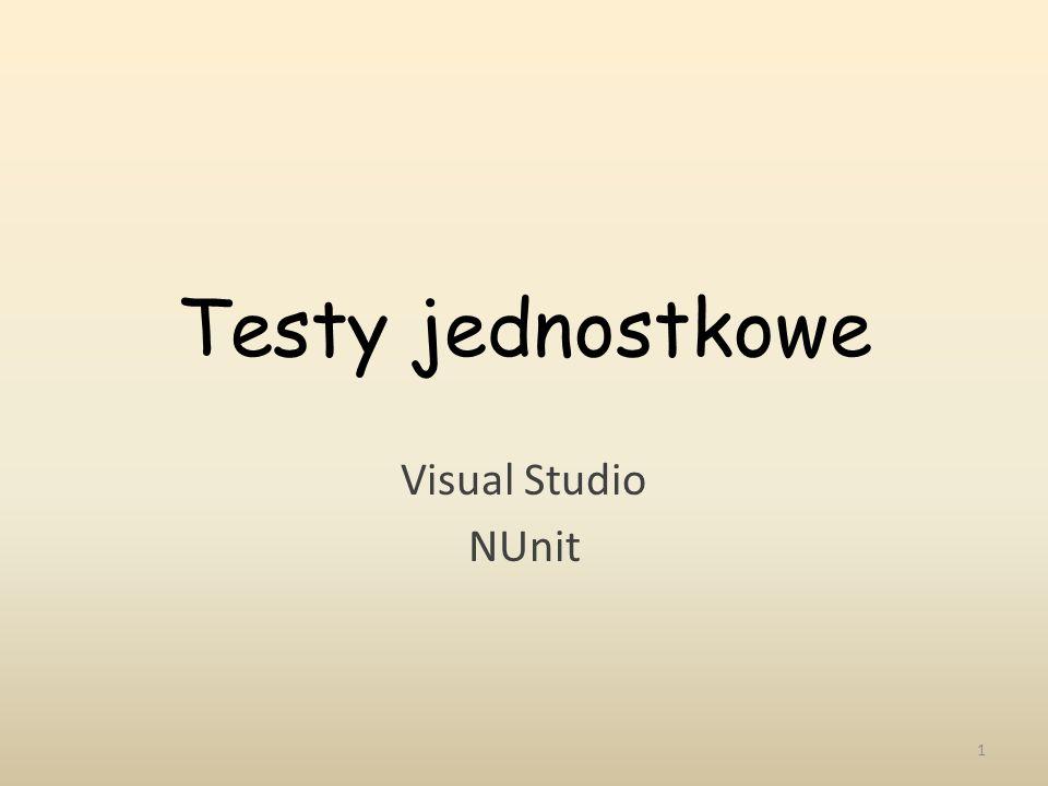 Testy jednostkowe Visual Studio NUnit