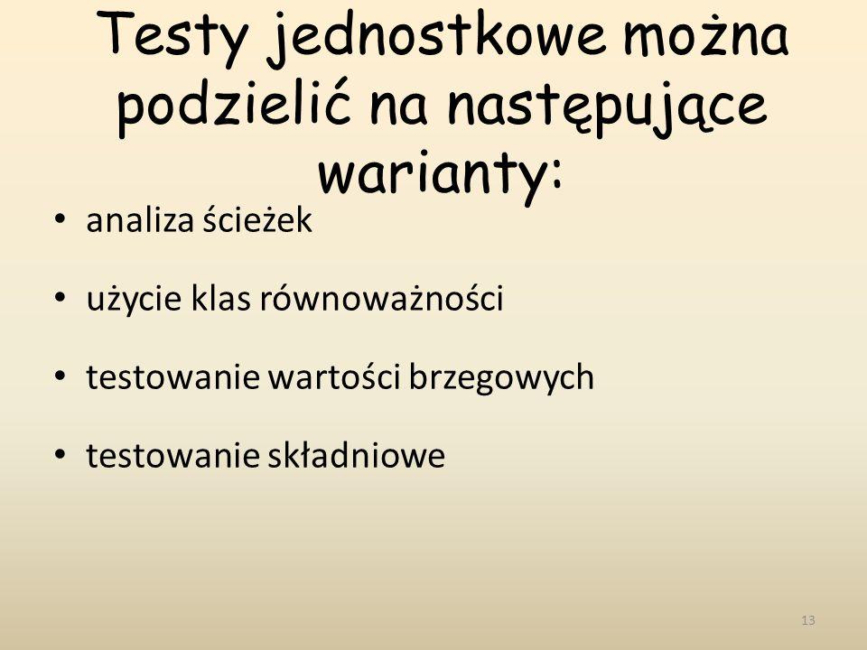 Testy jednostkowe można podzielić na następujące warianty: