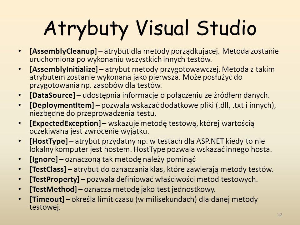 Atrybuty Visual Studio