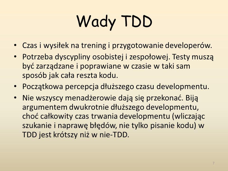 Wady TDD Czas i wysiłek na trening i przygotowanie developerów.