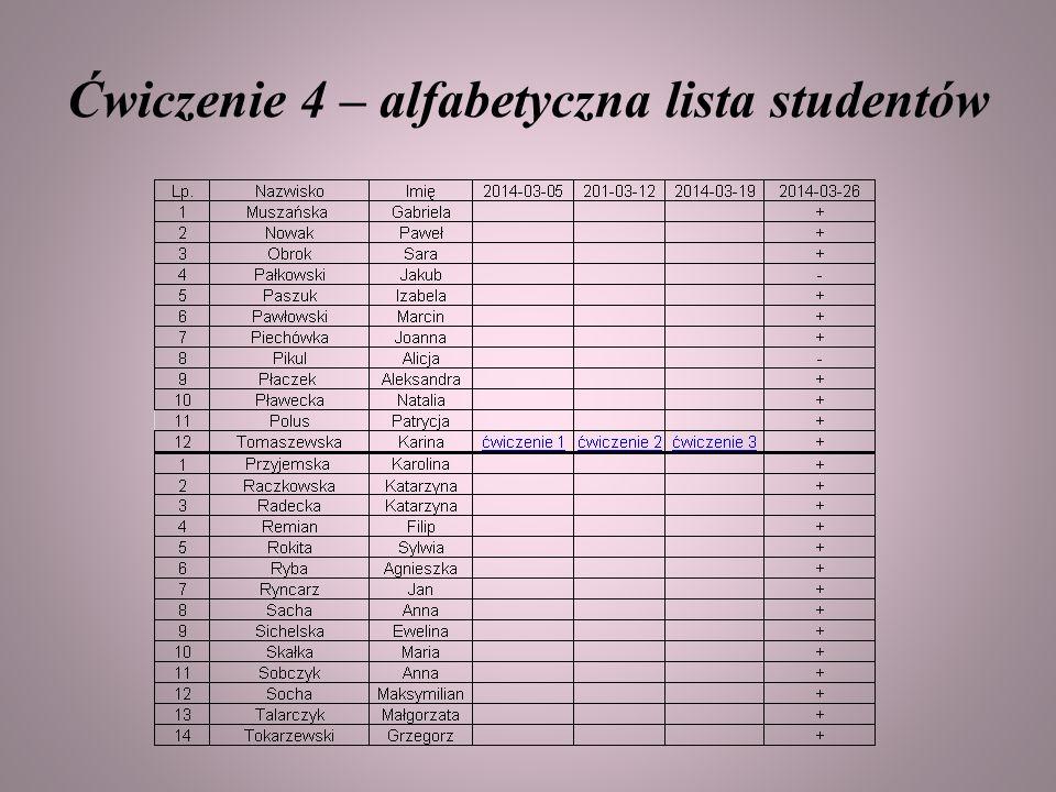 Ćwiczenie 4 – alfabetyczna lista studentów