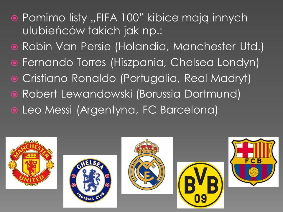 """Pomimo listy """"FIFA 100 kibice mają innych ulubieńców takich jak np.:"""