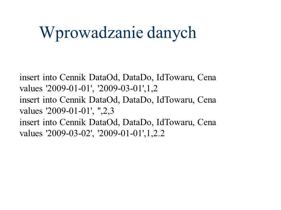 Wprowadzanie danych insert into Cennik DataOd, DataDo, IdTowaru, Cena