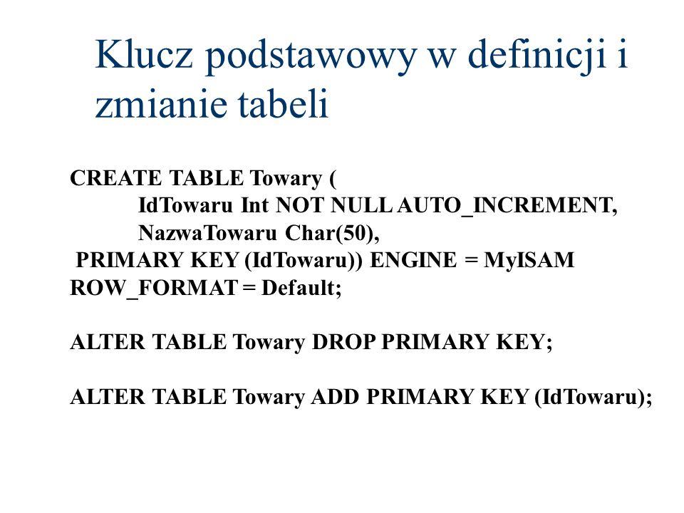 Klucz podstawowy w definicji i zmianie tabeli