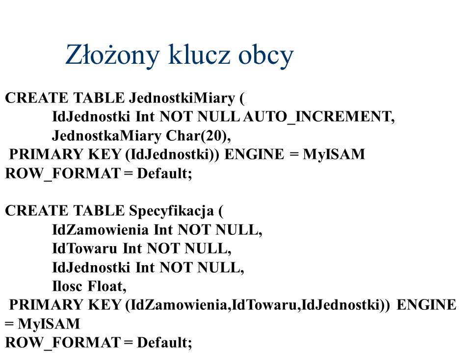 Złożony klucz obcy CREATE TABLE JednostkiMiary (