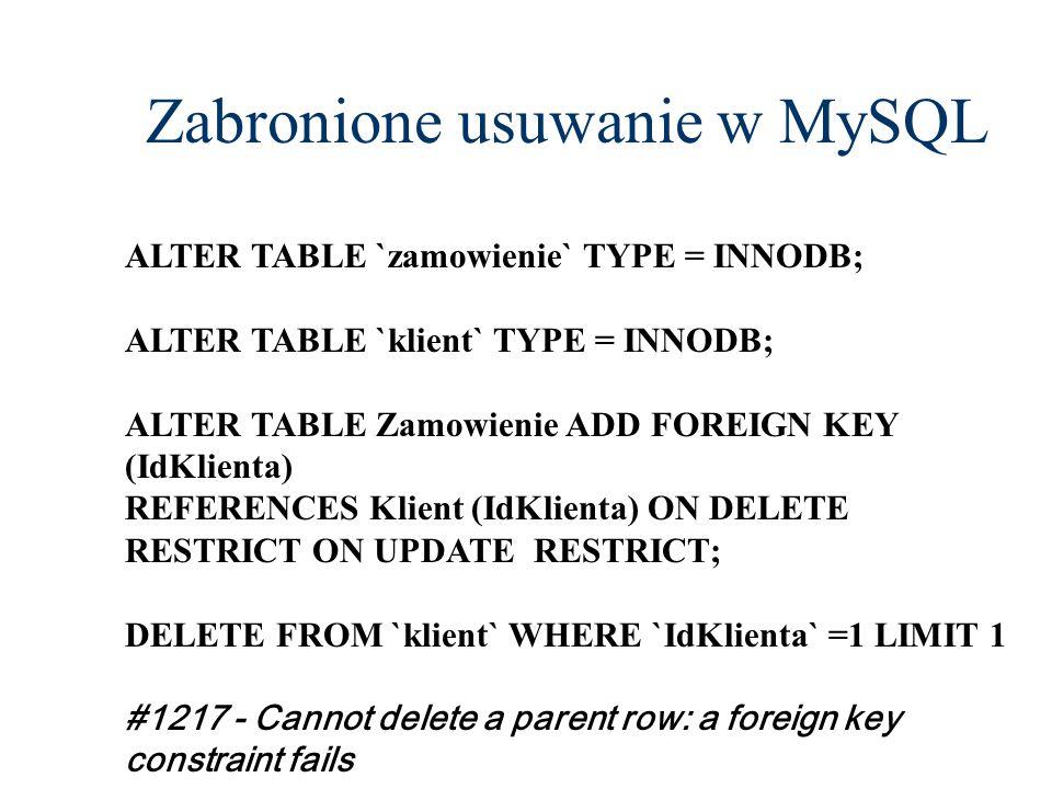 Zabronione usuwanie w MySQL