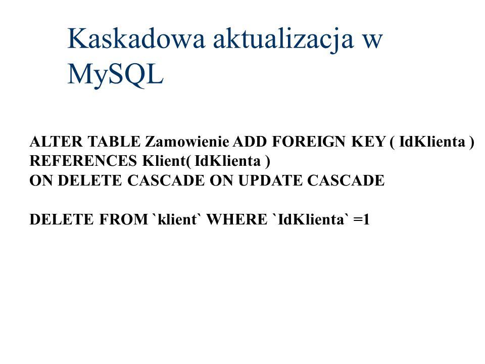 Kaskadowa aktualizacja w MySQL