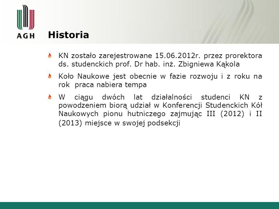 Historia KN zostało zarejestrowane 15.06.2012r. przez prorektora ds. studenckich prof. Dr hab. inż. Zbigniewa Kąkola.