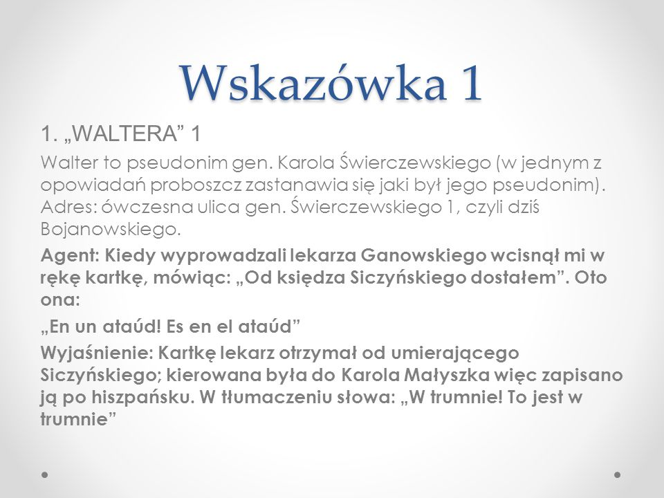 "Wskazówka 1 1. ""WALTERA 1."