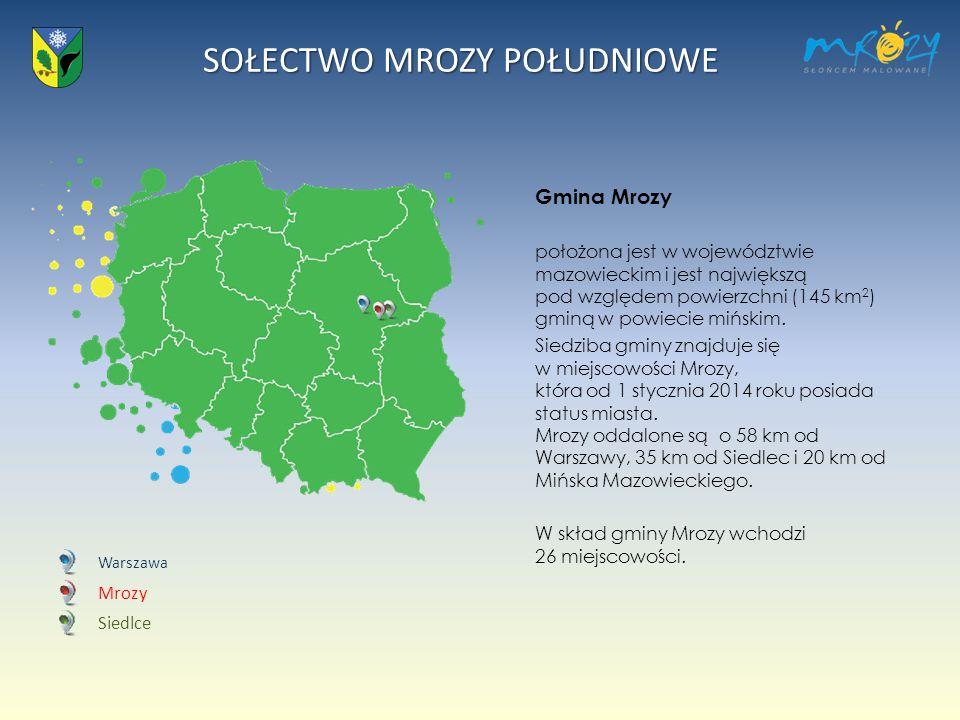 Gmina Mrozy położona jest w województwie mazowieckim i jest największą pod względem powierzchni (145 km2) gminą w powiecie mińskim.