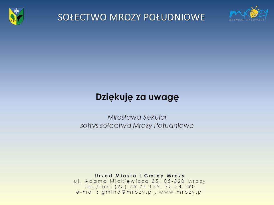 Dziękuję za uwagę Mirosława Sekular sołtys sołectwa Mrozy Południowe