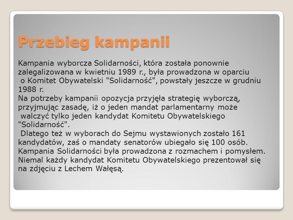 Przebieg kampanii Kampania wyborcza Solidarności, która została ponownie zalegalizowana w kwietniu 1989 r., była prowadzona w oparciu.