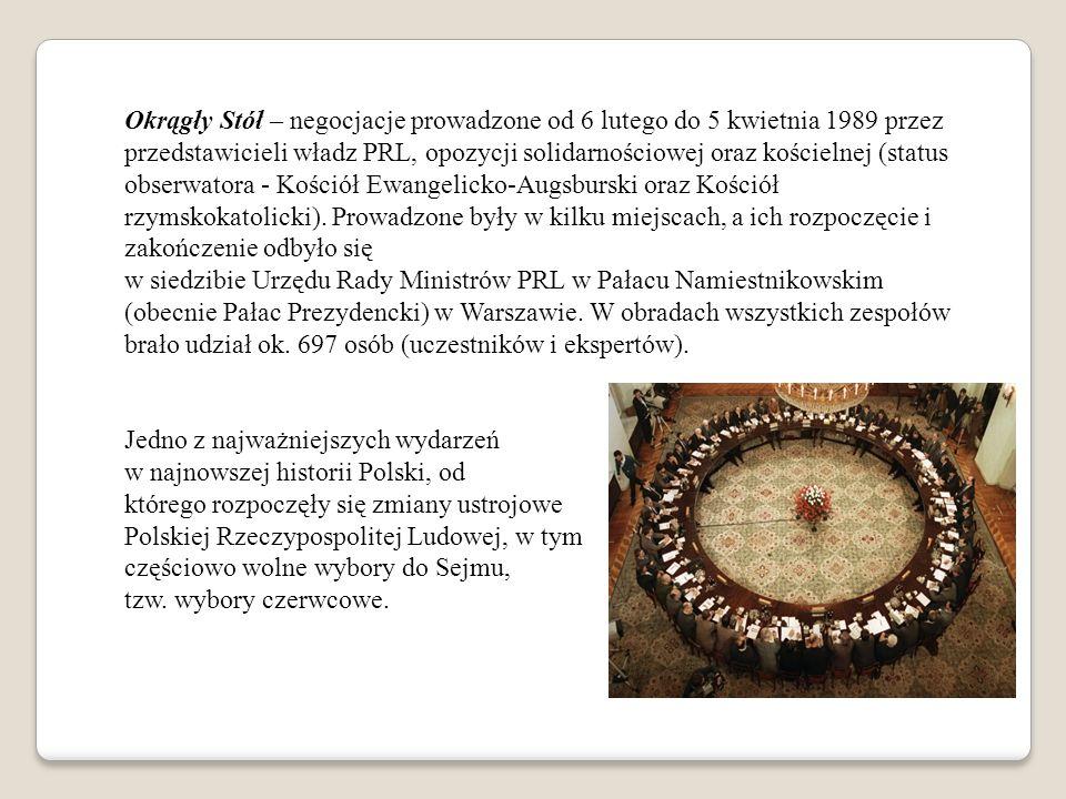 Okrągły Stół – negocjacje prowadzone od 6 lutego do 5 kwietnia 1989 przez przedstawicieli władz PRL, opozycji solidarnościowej oraz kościelnej (status obserwatora - Kościół Ewangelicko-Augsburski oraz Kościół rzymskokatolicki). Prowadzone były w kilku miejscach, a ich rozpoczęcie i zakończenie odbyło się