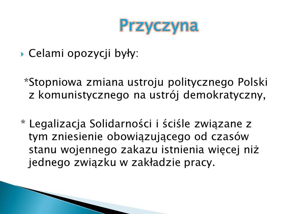 Przyczyna Celami opozycji były: