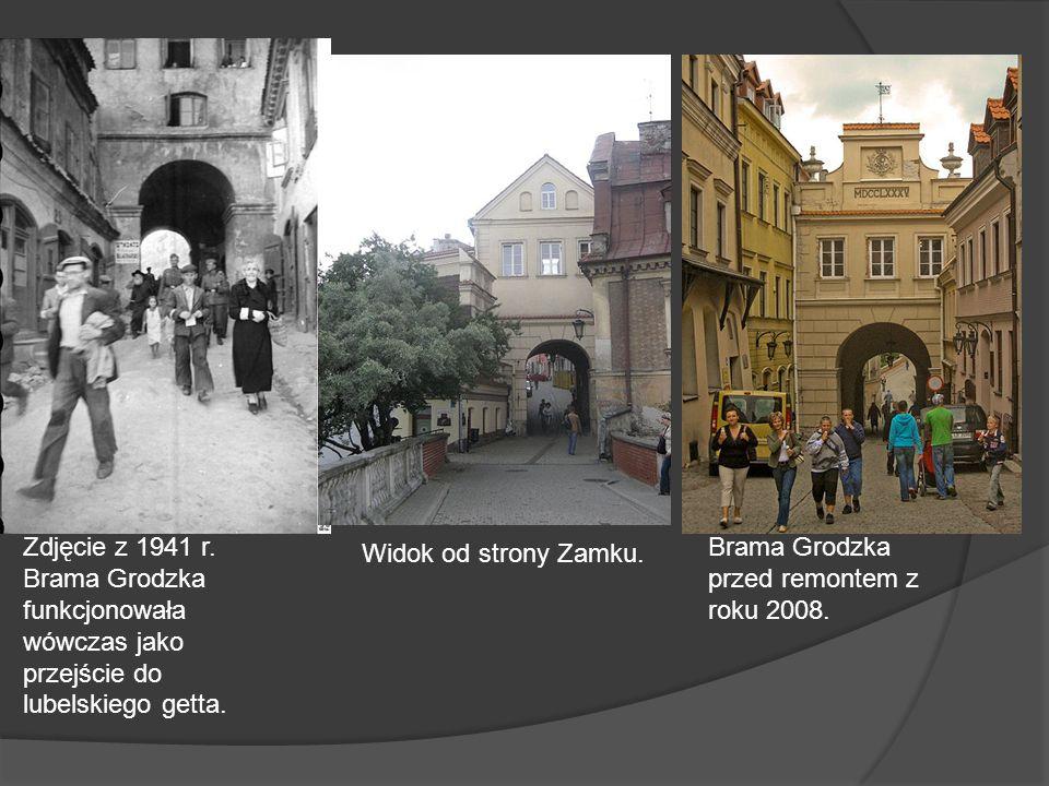 Widok od strony Zamku. Zdjęcie z 1941 r. Brama Grodzka funkcjonowała wówczas jako przejście do lubelskiego getta.
