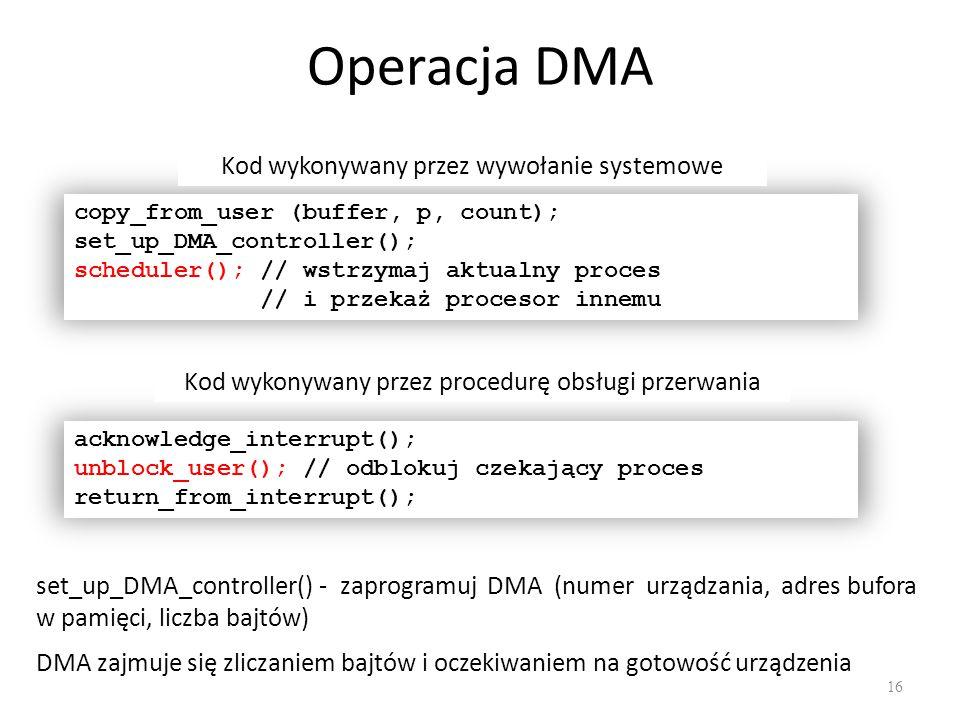 Operacja DMA Kod wykonywany przez wywołanie systemowe