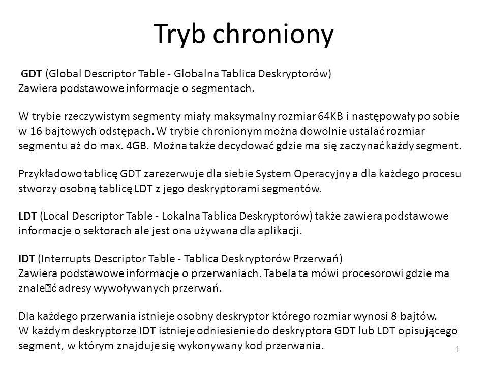 Tryb chroniony GDT (Global Descriptor Table - Globalna Tablica Deskryptorów) Zawiera podstawowe informacje o segmentach.