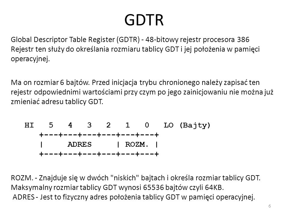 GDTR Global Descriptor Table Register (GDTR) - 48-bitowy rejestr procesora 386.