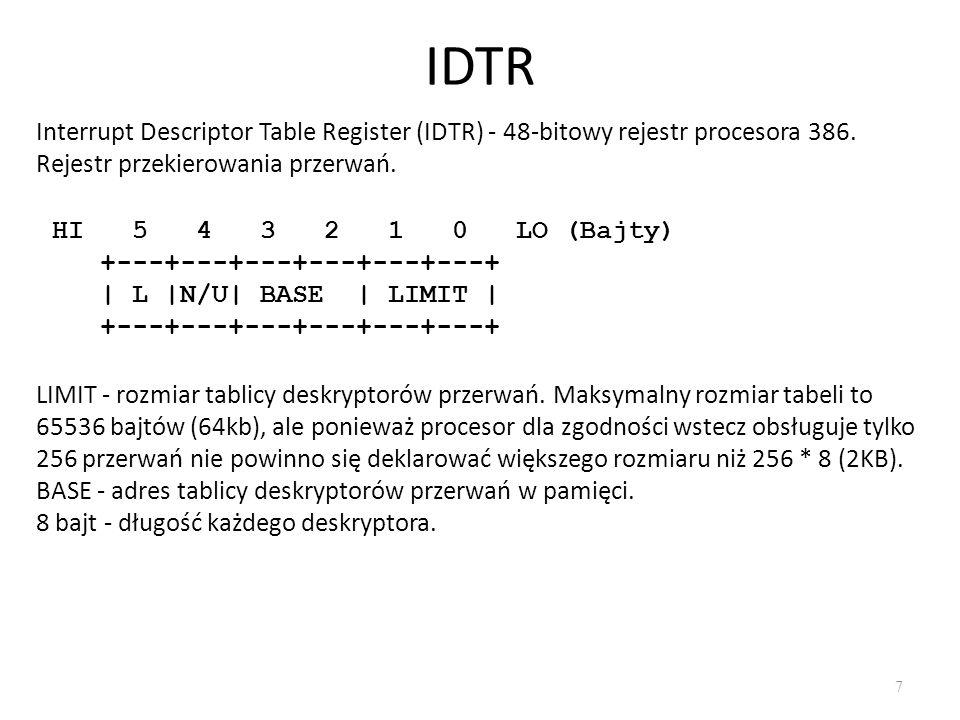 IDTR Interrupt Descriptor Table Register (IDTR) - 48-bitowy rejestr procesora 386. Rejestr przekierowania przerwań.