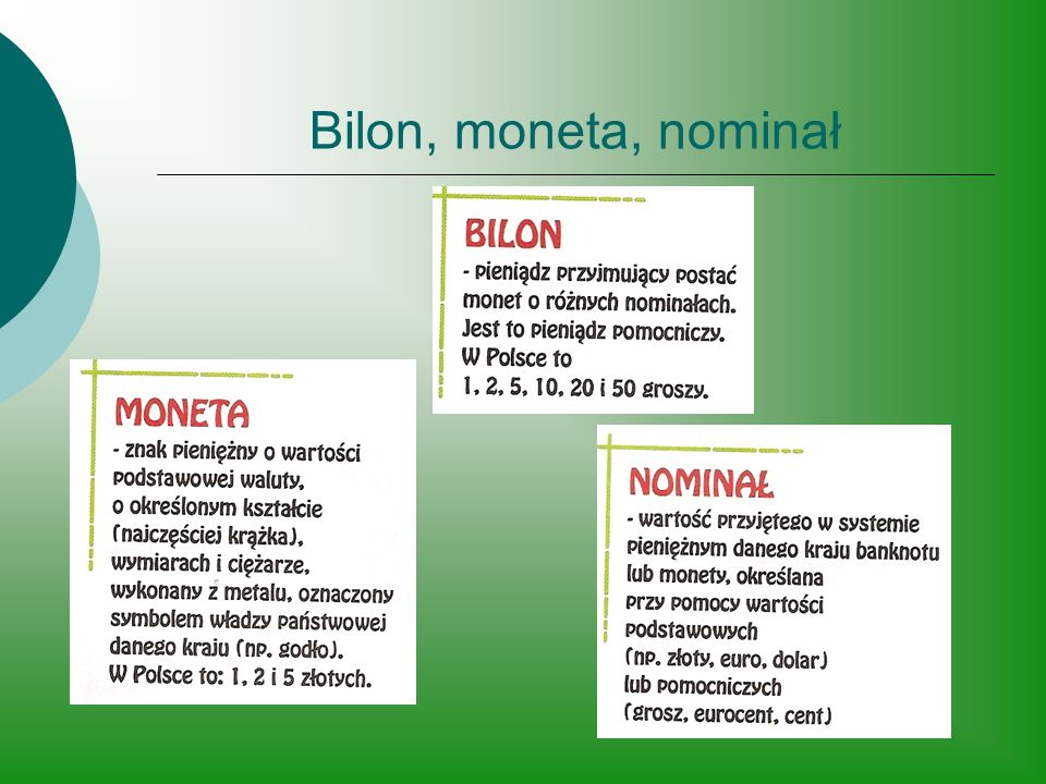 Bilon, moneta, nominał