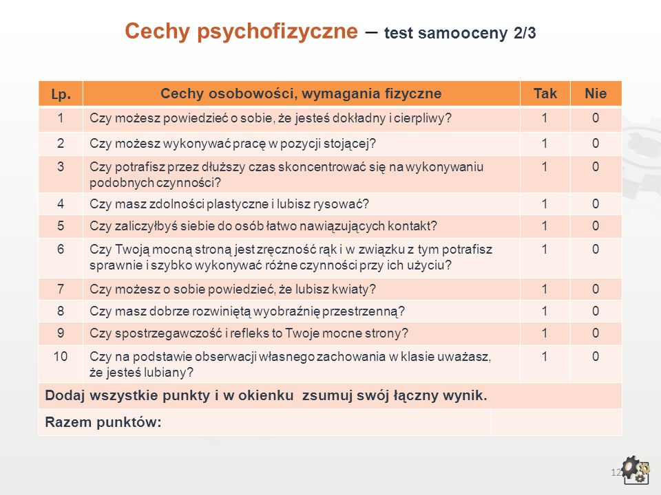 Cechy osobowości, wymagania fizyczne
