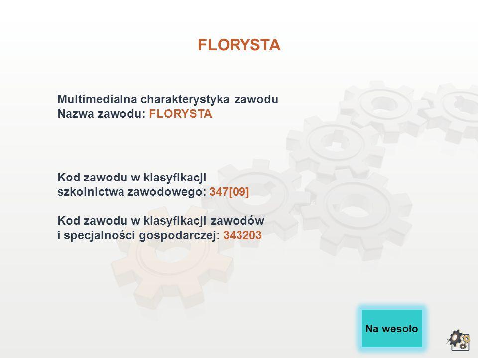 FLORYSTA Multimedialna charakterystyka zawodu Nazwa zawodu: FLORYSTA