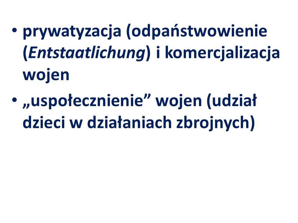 prywatyzacja (odpaństwowienie (Entstaatlichung) i komercjalizacja wojen