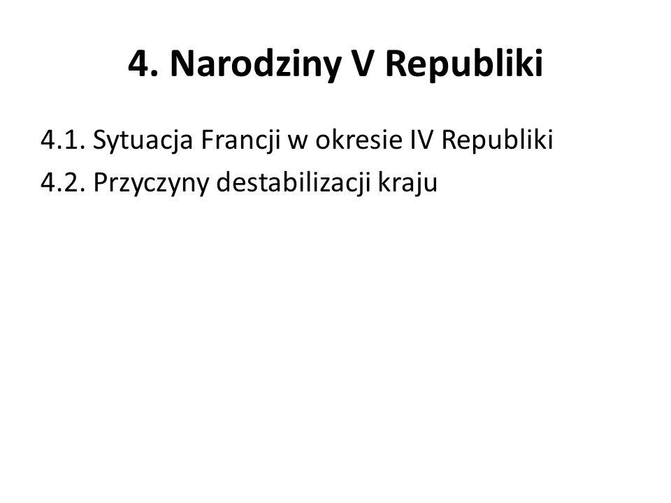 4. Narodziny V Republiki 4.1. Sytuacja Francji w okresie IV Republiki 4.2.