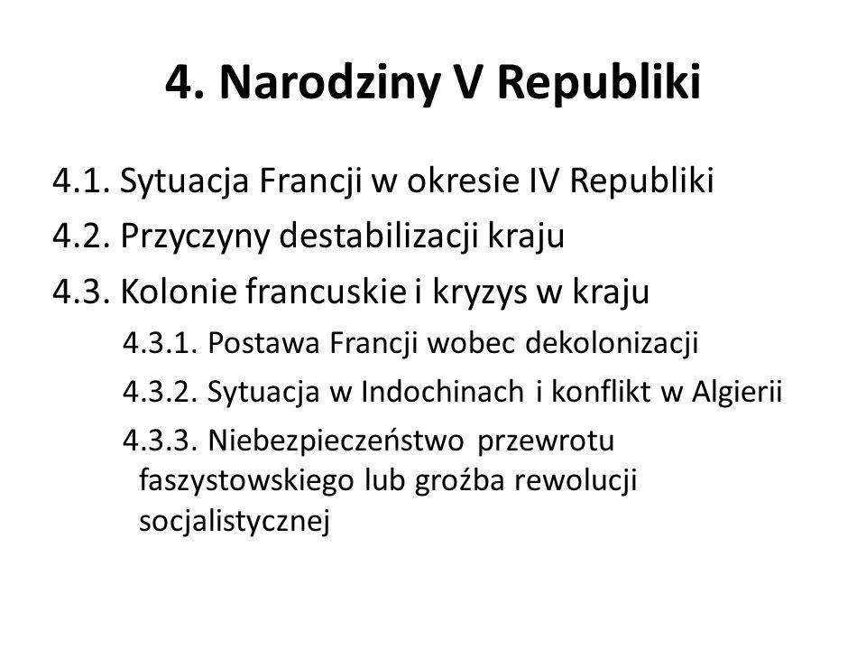 4. Narodziny V Republiki 4.1. Sytuacja Francji w okresie IV Republiki