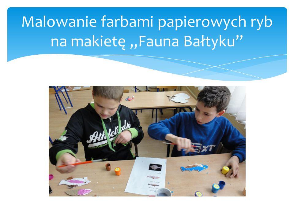 """Malowanie farbami papierowych ryb na makietę """"Fauna Bałtyku"""