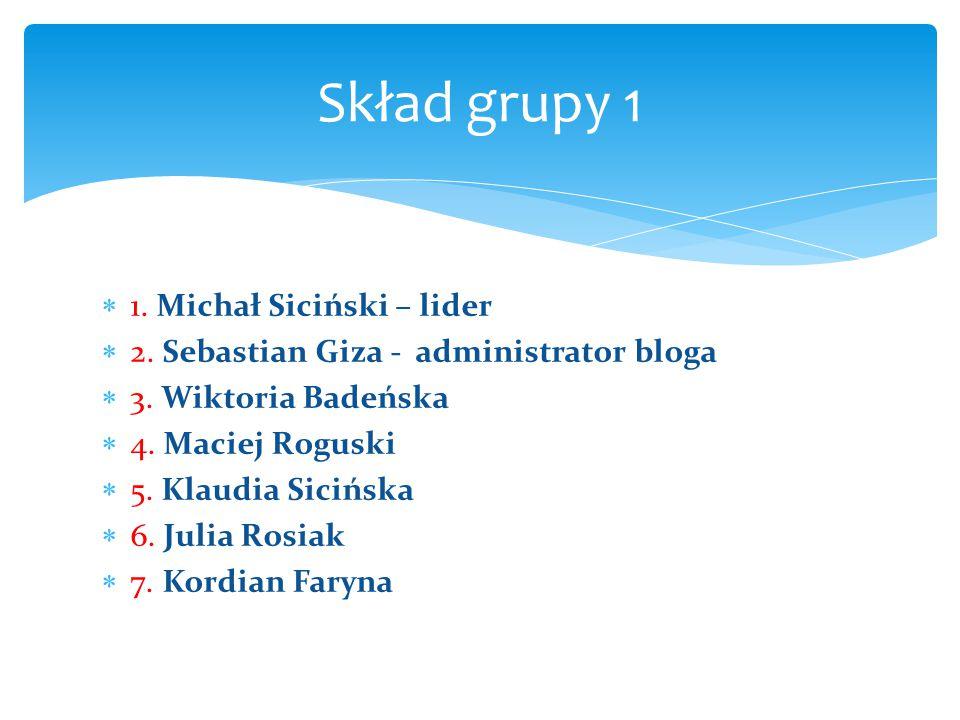 Skład grupy 1 1. Michał Siciński – lider