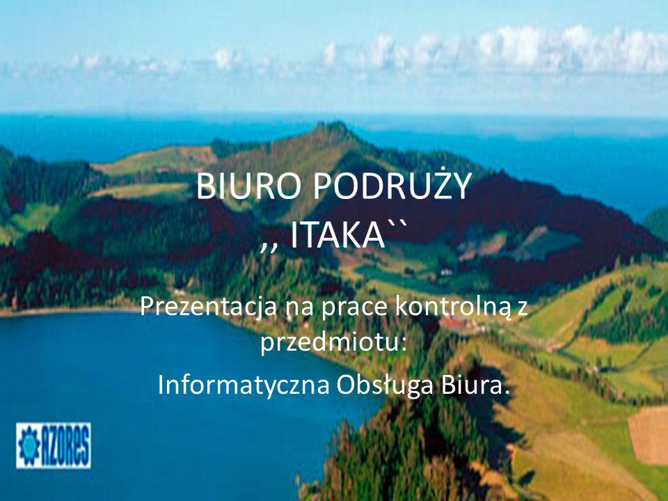 BIURO PODRUŻY ,, ITAKA`` Prezentacja na prace kontrolną z przedmiotu: