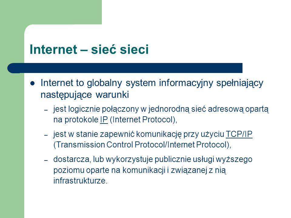Internet – sieć sieci Internet to globalny system informacyjny spełniający następujące warunki.