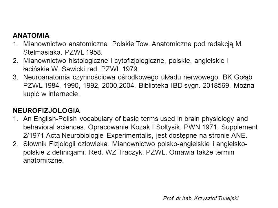 ANATOMIA Mianownictwo anatomiczne. Polskie Tow. Anatomiczne pod redakcją M. Stelmasiaka. PZWL 1958.