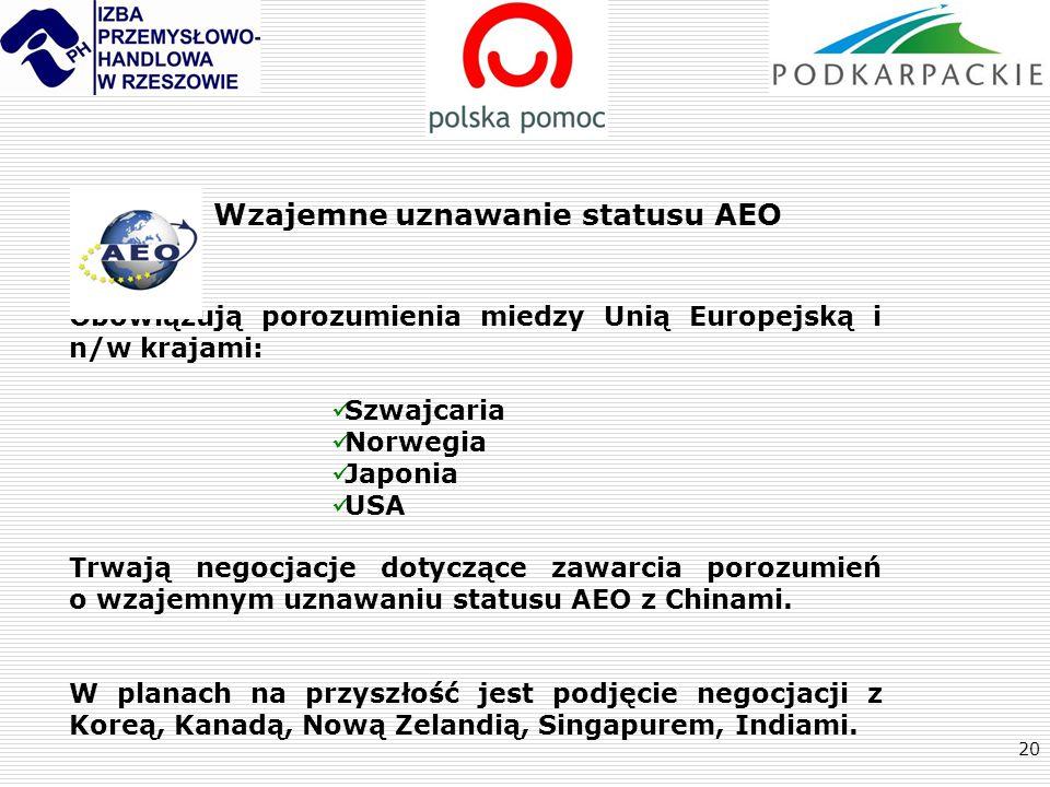 Wzajemne uznawanie statusu AEO
