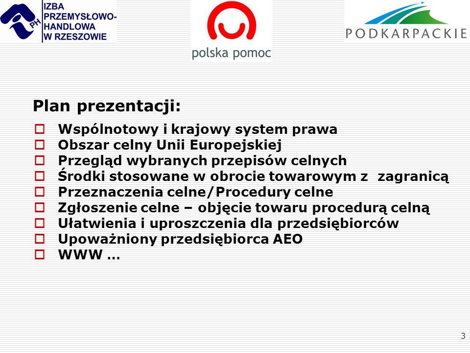Plan prezentacji: Wspólnotowy i krajowy system prawa
