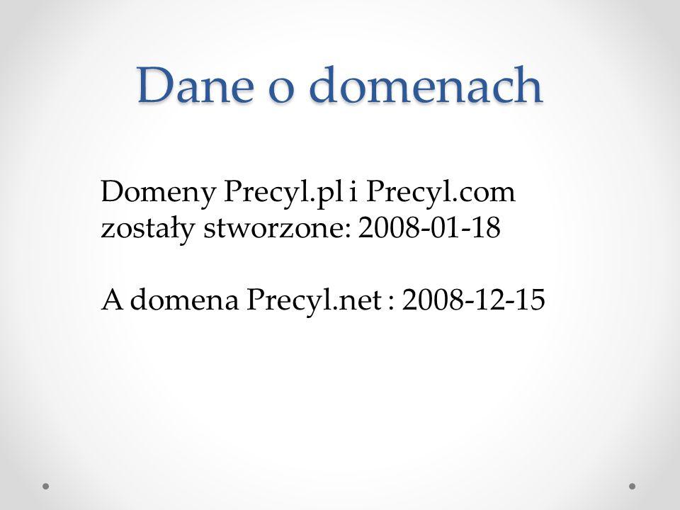 Dane o domenach Domeny Precyl.pl i Precyl.com zostały stworzone: 2008-01-18.