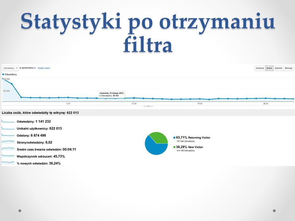 Statystyki po otrzymaniu filtra