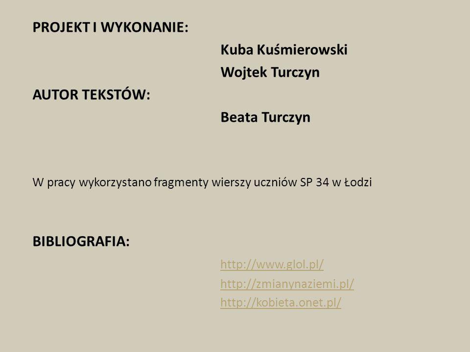 PROJEKT I WYKONANIE: Kuba Kuśmierowski Wojtek Turczyn AUTOR TEKSTÓW: