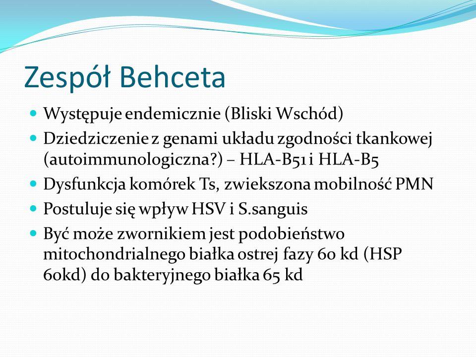Zespół Behceta Występuje endemicznie (Bliski Wschód)