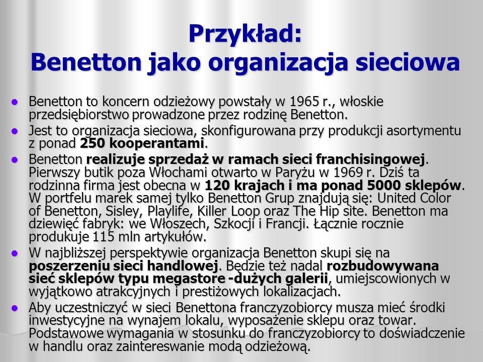 Przykład: Benetton jako organizacja sieciowa