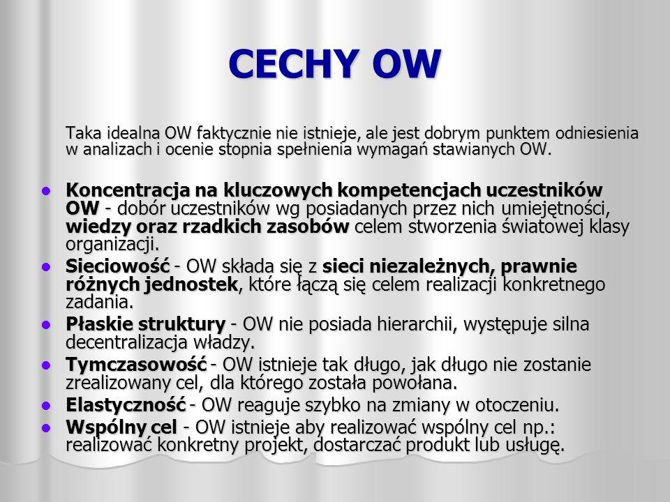 CECHY OW Taka idealna OW faktycznie nie istnieje, ale jest dobrym punktem odniesienia w analizach i ocenie stopnia spełnienia wymagań stawianych OW.